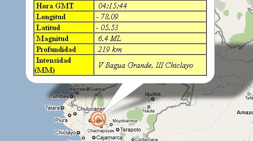 Sismo de 6.4 sacude la costa norte del Perú