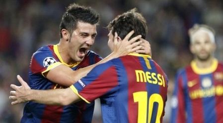 David Villa y Messi
