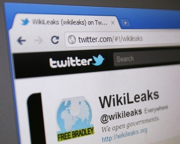 WikiLeaks' Twitter page is seen on a computer screen in Singapore
